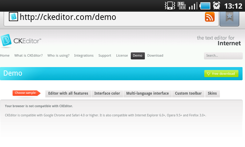 Feature #4723: FCK editor not working on Android browsers - Chamilo